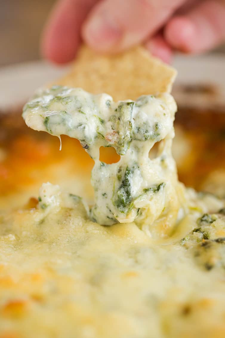 Dipping a tortilla chip into spinach artichoke dip.