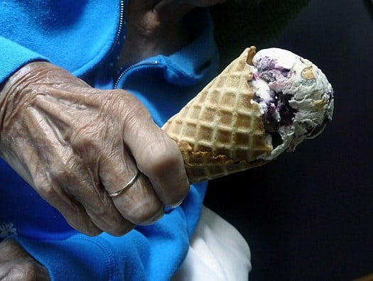 My grandma with her ice cream cone