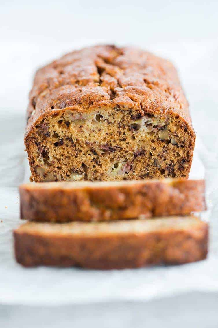 Grandma's Banana Bread, full of chopped walnuts, and super easy to make!