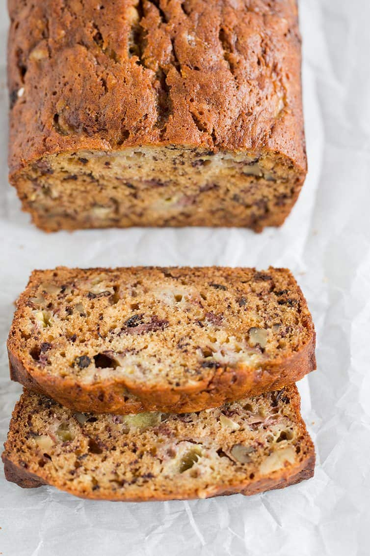 Grandma's Banana Nut Bread is easy to make, super moist and loaded with walnuts!
