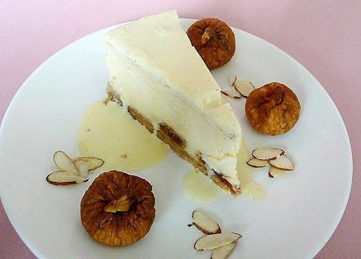 Fig and Almond Cheesecake with Amaretto Creme Anglaise