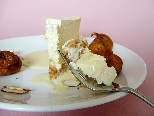 Fig and Amaretto Cheesecake with Amaretto Creme Anglaise