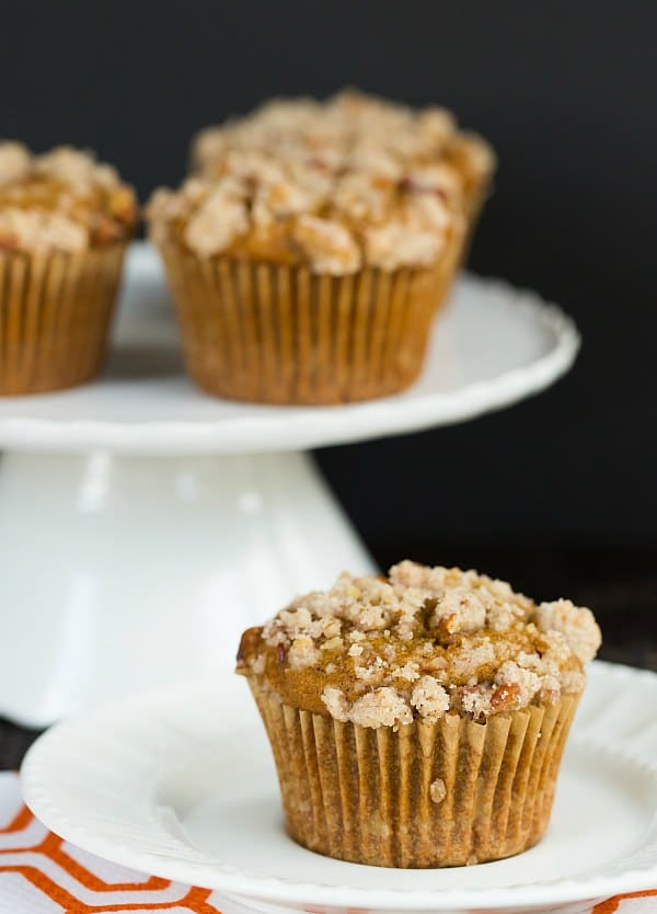 Pumpkin Cream Cheese Muffins with Pecan Streusel | browneyedbaker.com #recipe