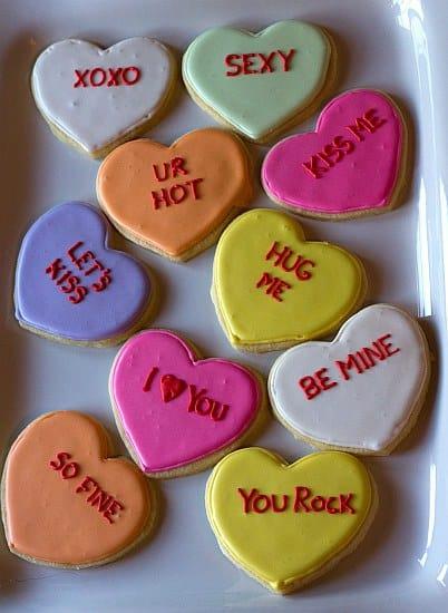 Conversation Heart Sugar Cookies | Brown Eyed Baker