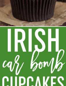 Irish Car Bomb Cupcakes :: Guinness chocolate cake, Jameson whiskey ganache filling, and Baileys buttercream frosting.