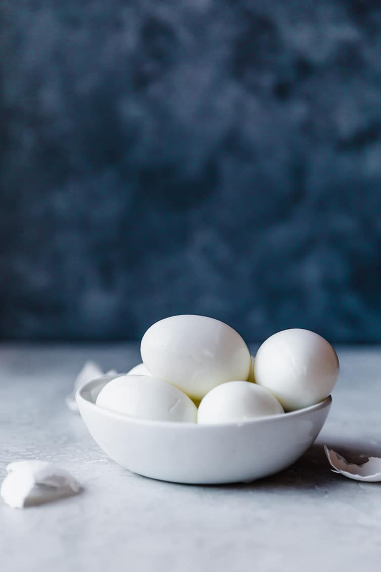 A bowl of hard-boiled eggs.