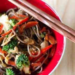 Soba Noodle Stir-Fry with Almond Butter Sauce | Vegetarian Recipes