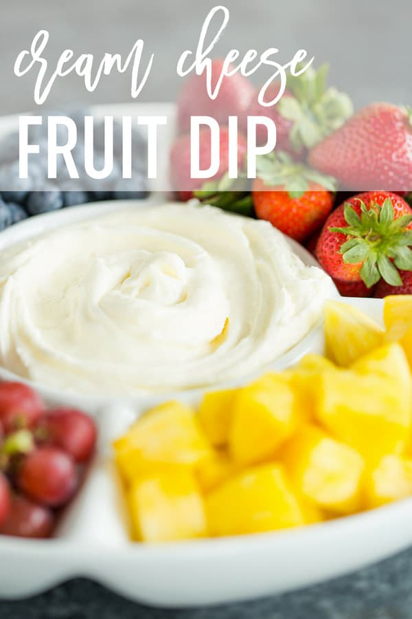 Fruit Dip :: This easy recipe is the best! Made with just two ingredients - cream cheese and marshmallow creme - it takes only minutes to prepare and is the perfect addition to summer fruit trays. #browneyedbaker #fruitdip #creamcheese #marshmallowcreme #marshmallowfluff