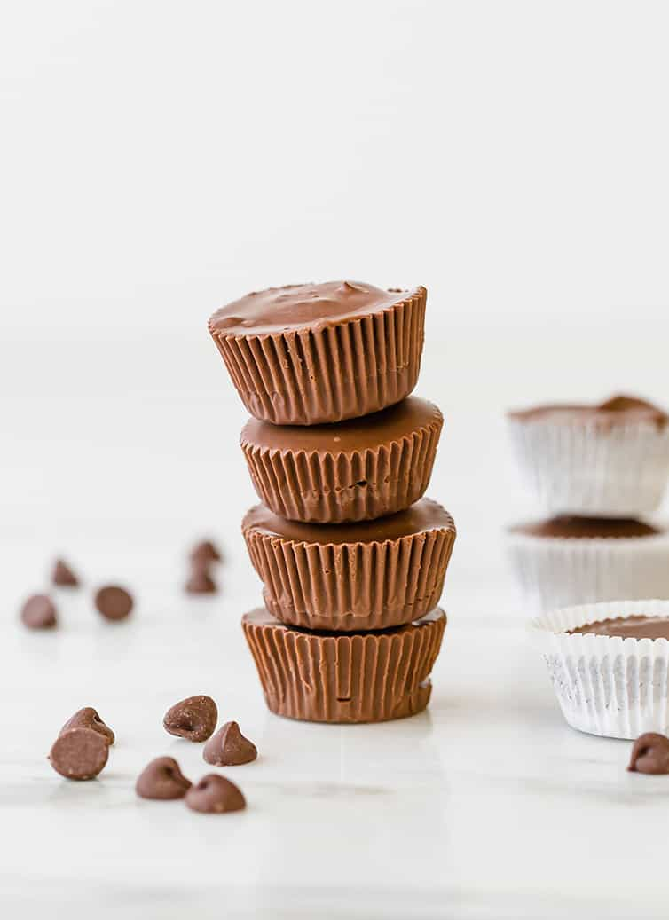 A stack of four peanut butter cups.