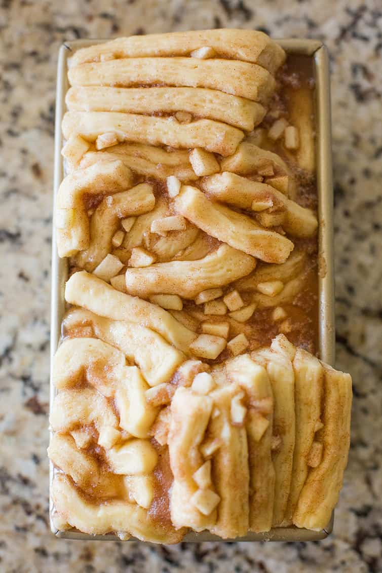 Apple Cinnamon Sugar Pull Apart Bread risen and ready for the oven!
