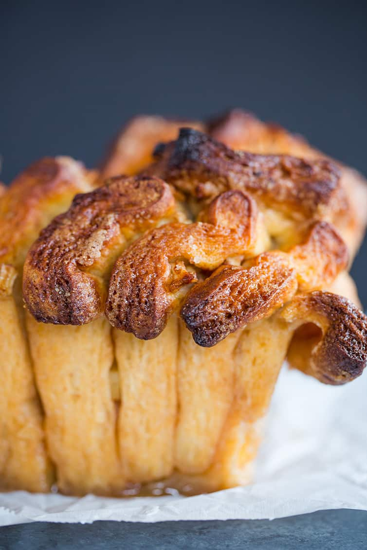 A crusty loaf of Apple Cinnamon Sugar Pull Apart Bread