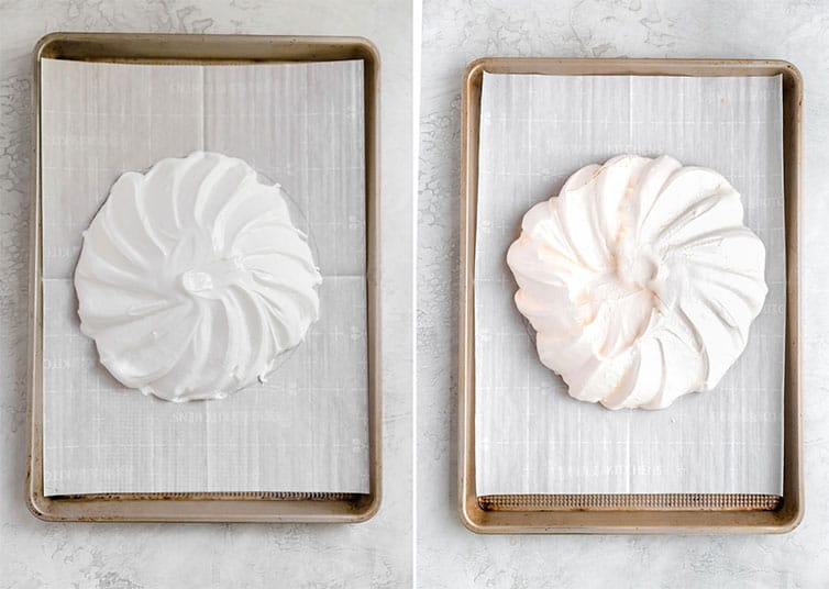 Side by side photos of prepared pavlova and finished baked pavlova.