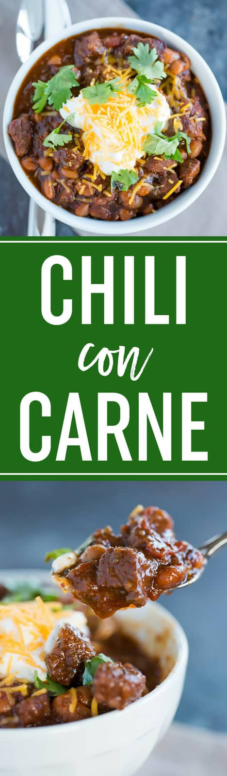 Chili Con Carne :: This version of chili con carne is made with chunks of beef and a homemade chili paste. A great change of pace from chili made with ground beef! #chili #dinner #recipe #beef #superbowl