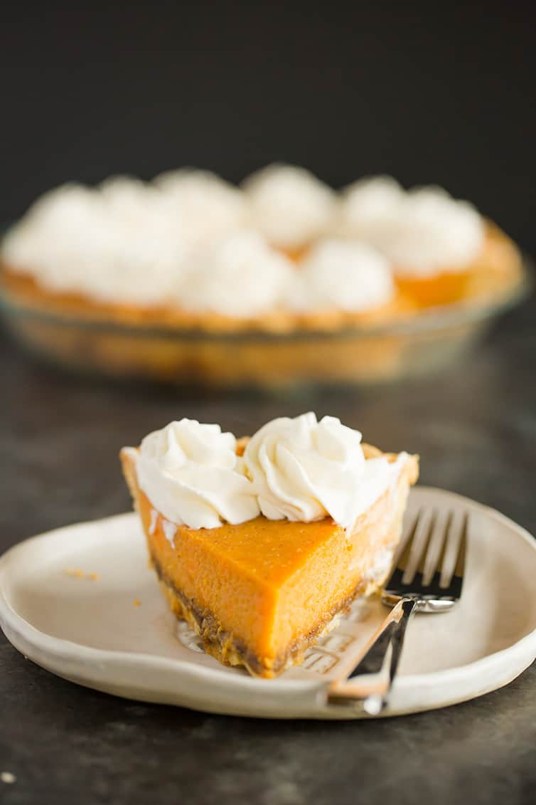 A slice of sweet potato pie shot straight ahead.