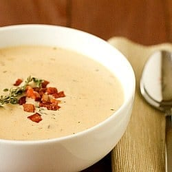 Cheddar and Ale Soup with Potato & Bacon