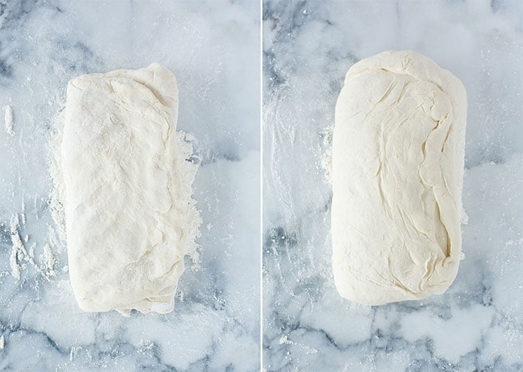 Focaccia dough before and after resting.