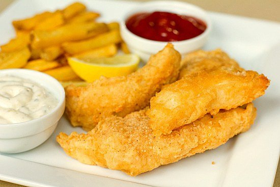 Beer battered cod fish and chips for Deep fry fish batter