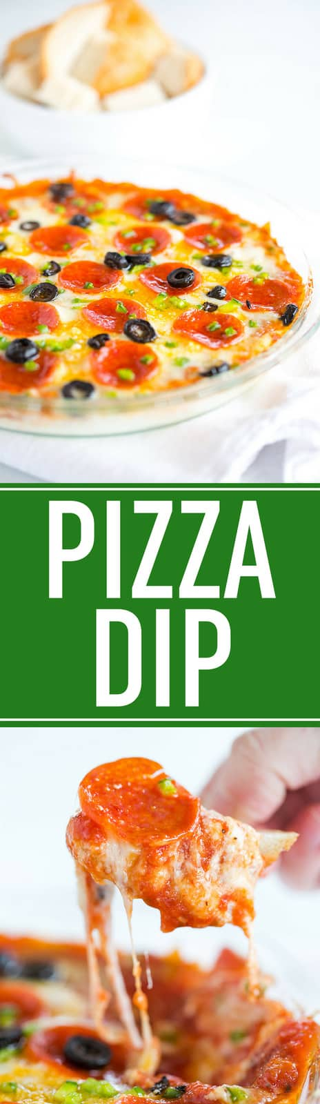 Pizza Dip :: This easy baked pizza dip recipe features layers of mozzarella and Parmesan cheeses, pizza sauce, and your favorite pizza toppings. Always a hit! #pizza #dip #appetizer #footballfood #superbowl