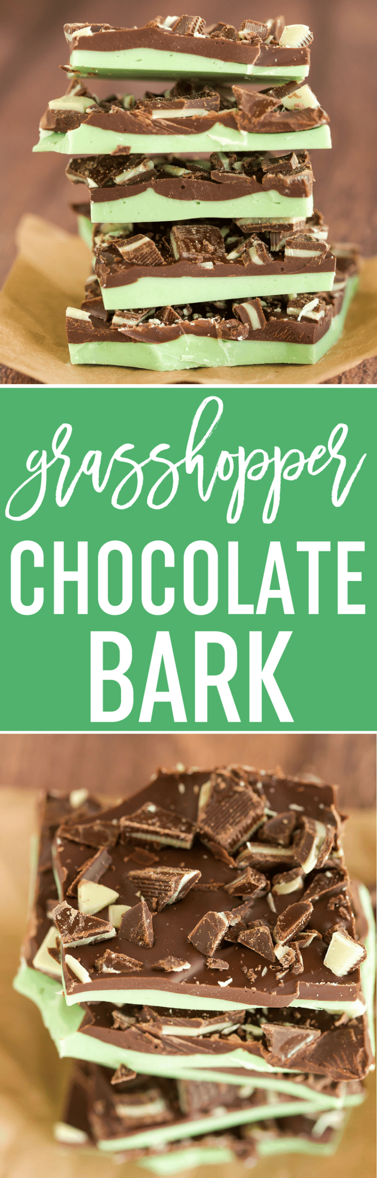 Grasshopper Chocolate Bark :: It combines the chocolate and mint flavors from the popular cocktail, minus the alcohol. Make it for your St. Patrick's Day party!