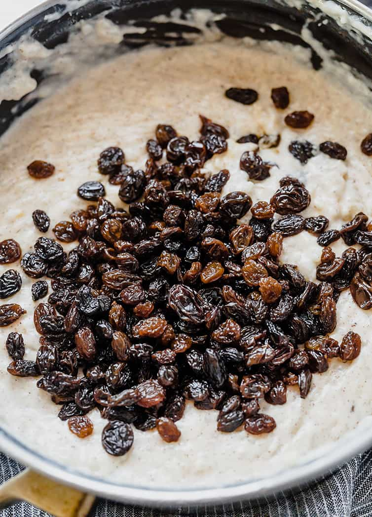 A pot of rice pudding with bourbon-soaked raising on top.