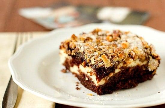 Chocolate Cake With Cream Cheese Filling  WalnutSugar Topping - Favorite birthday cake