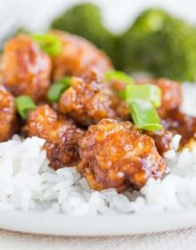 A close up shot of General Tso's Chicken
