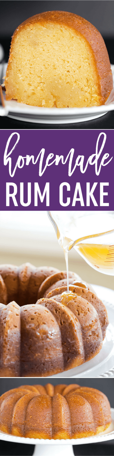 Recipe for a rum cake made from scratch