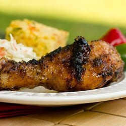 Grilled Chicken Drumsticks with Sweet Apple Glaze