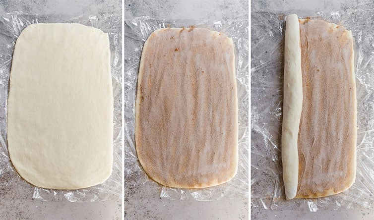 Step by step photos showing sticky bun dough rolled out, sprinkled with cinnamon sugar, and rolled up.