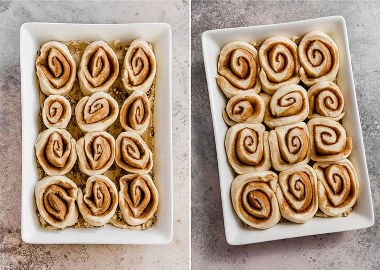 Side by side photos of sticky buns in the pan before and after rising.