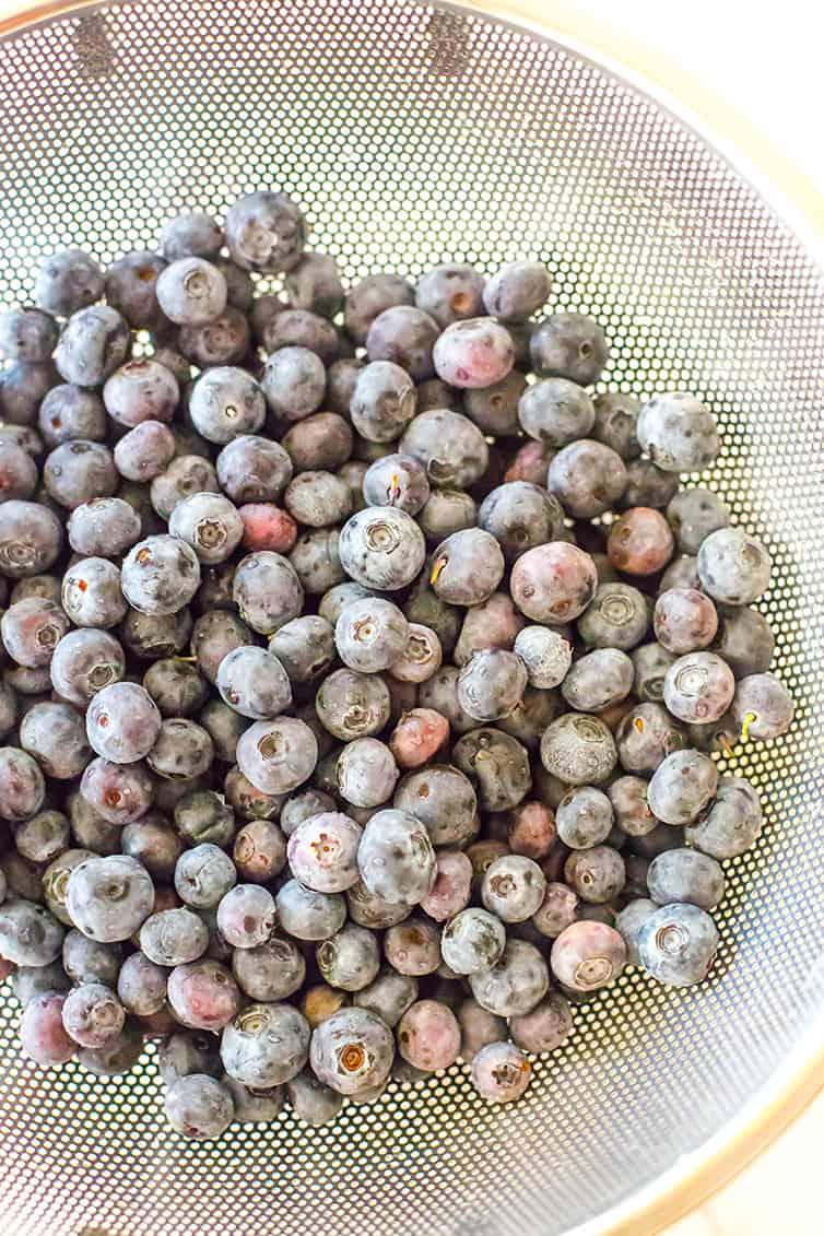 Blueberries in a colander.