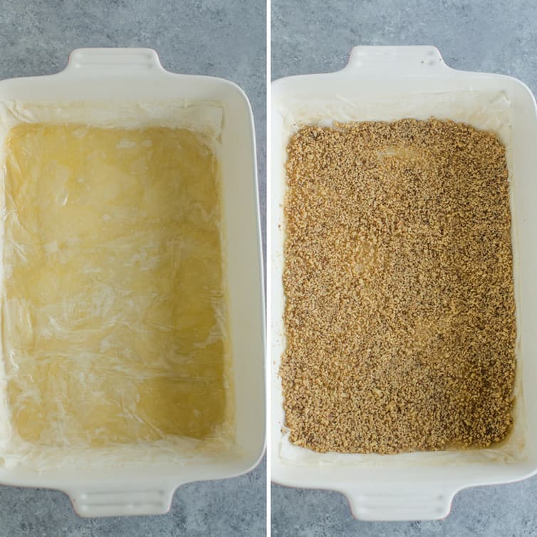 Step-by-step photos showing the layering of phyllo dough and ground nuts for baklava.