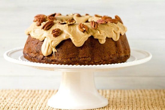 Apple-Pecan Spice Cake with Cream Cheese Filling & Praline Topping