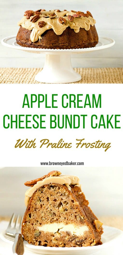 Apple Spice Cream Cheese Bundt Cake with Praline Frosting & Pecans. OH MY! | browneyedbaker.com