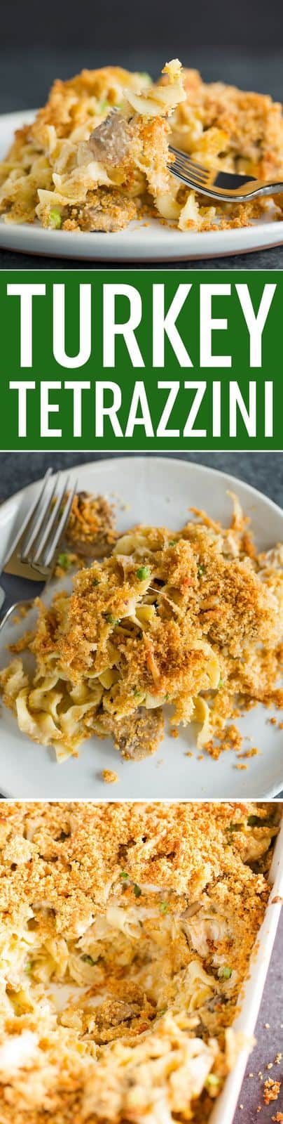 Turkey Tetrazzini - This classic casserole recipe is the perfect way to use up all of that leftover Thanksgiving turkey! #recipe #casserole #turkey #mushrooms #peas #cheese #thanksgiving #holidays