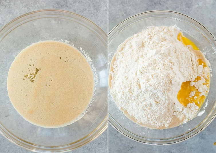 Side by side photos of yeast and ingredients for dough in a mixing bowl.
