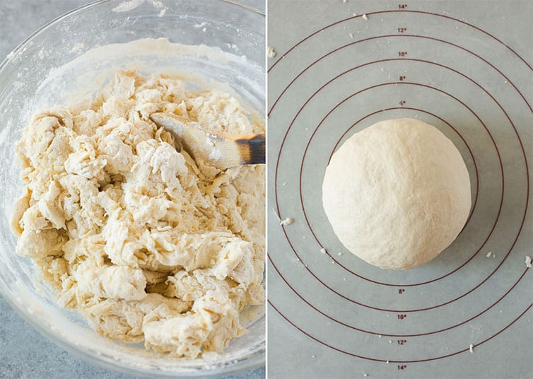 Side by side photos of shaggy dough and a smooth ball of dough.