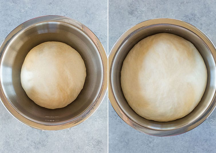 Ball of dough in a bowl before and after rising.