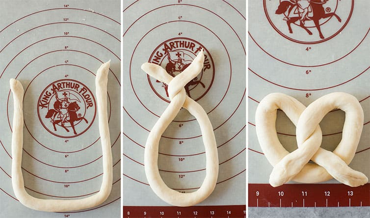 Step by step photos of how to shape soft pretzels.