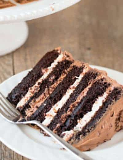 Six Layer Chocolate Cake With Toasted Marshmallow Filling Malted Frosting
