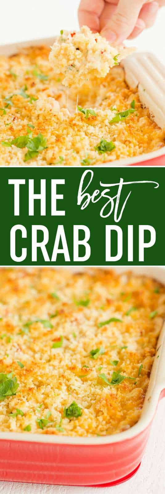 This is the BEST easy crab dip - full of flavor and perfect for summer parties. Dig in with your favorite chips or serve on baguettes!