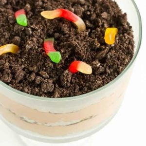Dirt Dessert - The classic! A trifle bowl filled with layers of crushed Oreos and chocolate mousse.