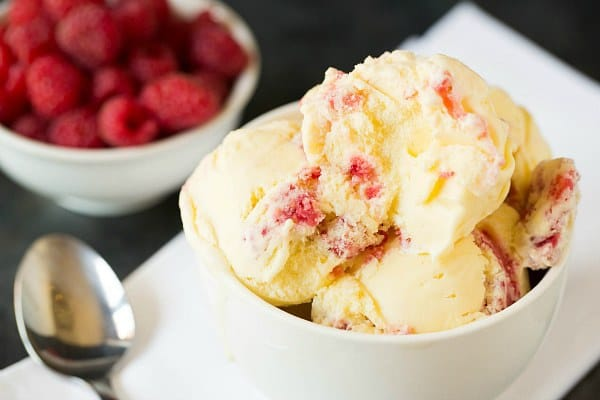 White Chocolate Ice Cream with Raspberry Swirl