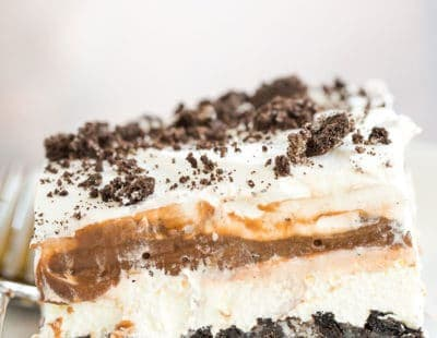 A big slice of No Bake Oreo Layer Dessert.
