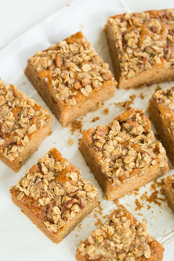 Applesauce Snack Cake with Oat-Nut Streusel by @browneyedbaker :: www.browneyedbaker.com