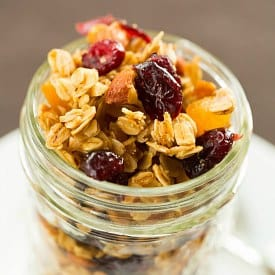 Maple-Almond Granola with Dried Cranberries Apricots
