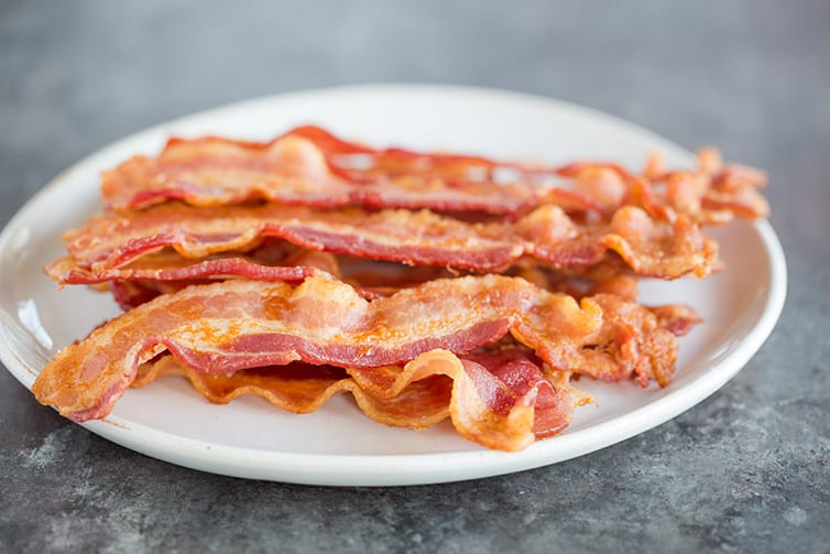 A plate of bacon.