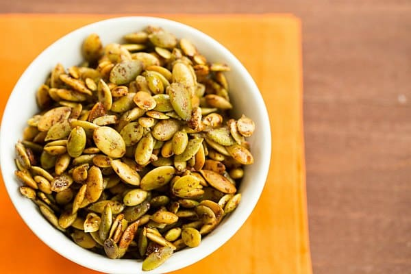 Roasted Pumpkin Seeds with 3 Spice Blend Recipes by @browneyedbaker :: www.browneyedbaker.com