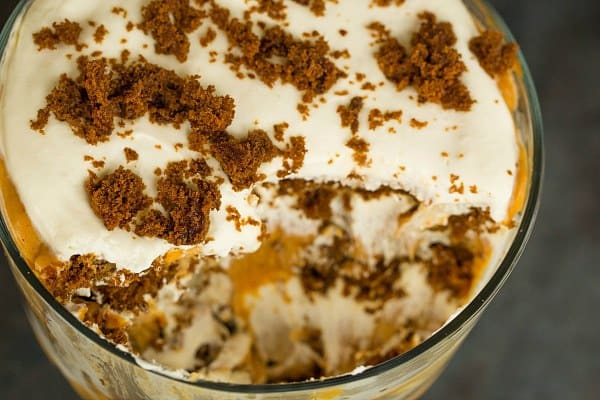 Pumpkin-Gingerbread Trifle Recipe by @browneyedbaker :: www.browneyedbaker.com