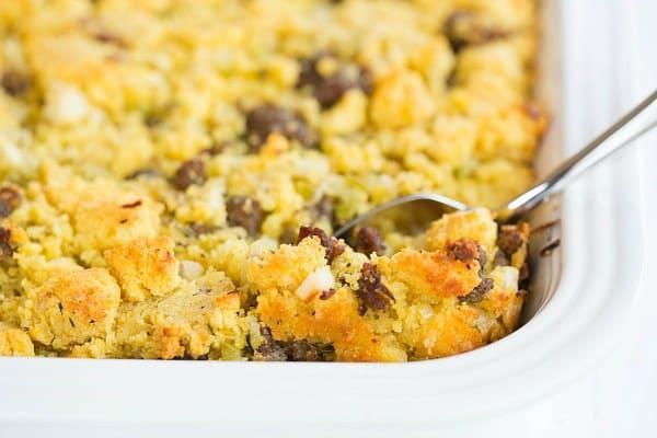 Sausage Cornbread Stuffing by @browneyedbaker :: www.browneyedbaker.com